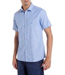 camisa dudalina manga curta fio tinto masculina (azul medio, 6)