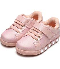 tênis pampili menina sneaker luz rosa - tricae