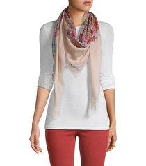 floral-print frayed scarf