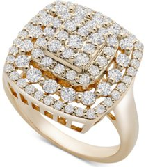 wrapped in love cushion cluster statement ring (1 ct. t.w.) in 14k gold, created for macy's