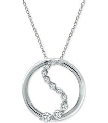 "cubic zirconia swirl circle 18"" pendant necklace in sterling silver"
