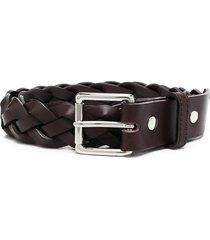 ami paris braided-effect buckled belt - brown