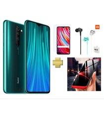 celular xiaomi redmi note 8 pro 128gb 6gb ram verde +vidrio+audifonos xiaomi+estuche 360