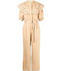 sea hazel oversized-collar jumpsuit - brown
