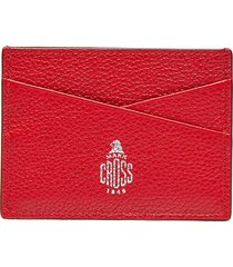 logo stamped leather card case