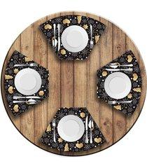 jogo americano   para mesa redonda wevans espirito natalino escandinavo  love decor