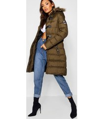 quilted faux fur hood parka, olive