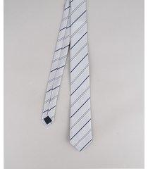 gravata masculina listrada em jacquard cinza