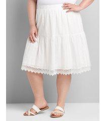 lane bryant women's eyelet flounce short skirt 26/28 white