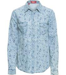 camicia di jeans fantasia a maniche lunghe (blu) - john baner jeanswear