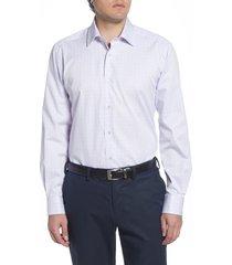 men's david donahue regular fit plaid dress shirt