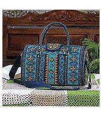 cotton handbag, 'teal sultanate' (14.5 inch) (indonesia)