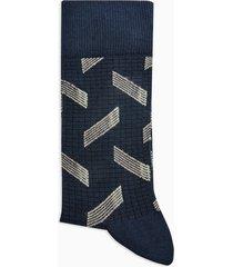 mens navy terrace fever geometric socks