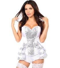 sexy white silver satin & sequin steel boned corset w removable snap skirt