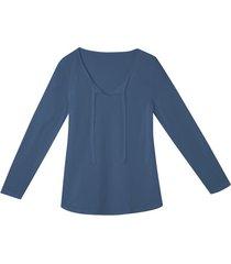 shirt met lange mouwen en band, rookblauw 38