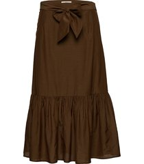 belted midi length skirt in sheer viscose quality knälång kjol brun scotch & soda