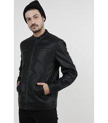 jaqueta biker masculina com bolsos preta