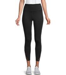 lace-trim ankle-length leggings