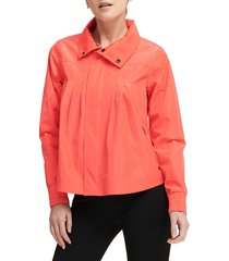 dkny sport women's pvc-trim swing bomber jacket - red - size s