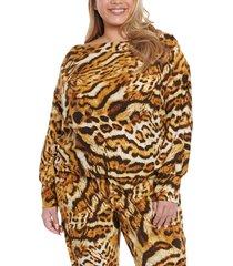 plus size women's coldesina stevey off the shoulder knit top, size 3x - brown