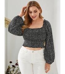 blusa de manga larga con diseño sin espalda de calicó con cuello cuadrado y talla grande