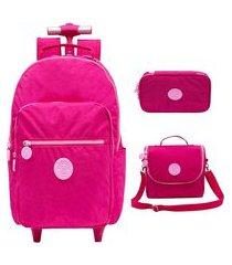 kit mochila escolar com rodinhas xeryus trendy lancheira e estojo 100 pens
