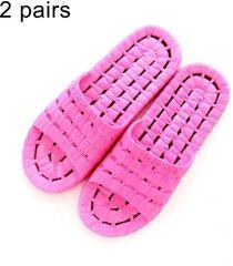 2 pares hombres y mujeres antideslizante baño ducha zapatillas sandalias para parejas adultas, talla: eu 36 / 37 (magenta)