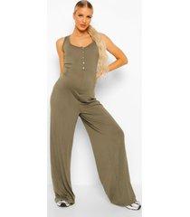 zwangerschap lounge jumpsuit met knopen, khaki
