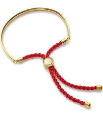 fiji friendship bracelet - coral red, gold vermeil on silver