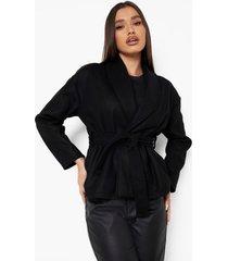 nepwollen wikkel jas met ceintuur, black