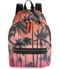 men's saint laurent palm tree city backpack - pink