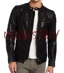 handmade new men stylish classic buckle back bomber leather jacket, biker jacket