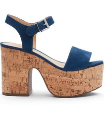 tuke platform sandal - 11 dress blue nubuck & cork