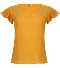 blusa con boleros color amarillo, talla l
