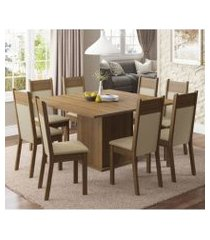 conjunto sala de jantar madesa panamá mesa tampo de madeira com 8 cadeiras rustic/crema/pérola