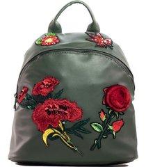 mochila flores piel verde mailea