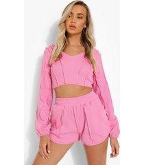 korte sweater met zoom detail en shorts set, pink