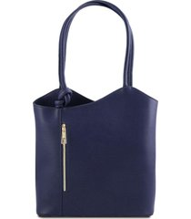 tuscany leather tl141455 patty - borsa donna convertibile a zaino in pelle saffiano blu scuro