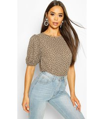 volume sleeve polka dot blouse, khaki