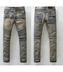 hi-q 2017 men classic jeans knee drape panel moto biker jeans size 28-38 (939)