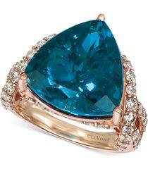 le vian deep sea blue topaz (9 ct. t.w.) & nude diamonds (1-3/4 ct. t.w.) ring in 14k rose gold