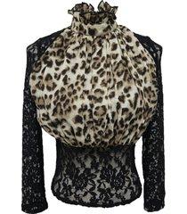 blusa animal print encaje negro nicopoly