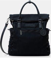 square canvas backpack - black - u