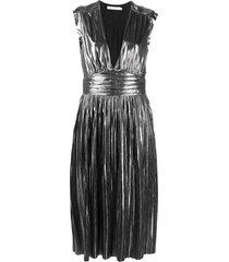 rebecca minkoff briella sleeveless pleated dress - silver