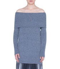 women's akris punto off the shoulder wool & cashmere pullover