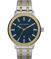ax armani exchange men's maddox genuine diamond-accent two-tone stainless steel bracelet watch 46mm