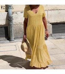 zanzea para mujer del lunar de la playa de bohemia partido de las señoras del vestido largo maxi vestidos kaftan -amarillo