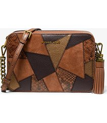 mk borsa a tracolla jet��set media in pelle effetto patchwork - cuoio (marrone) - michael kors