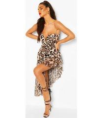 midi-jurk met luipaardprint, bandeau en franjes van mesh, luipaard