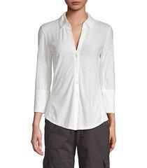 long-sleeve cotton-blend top